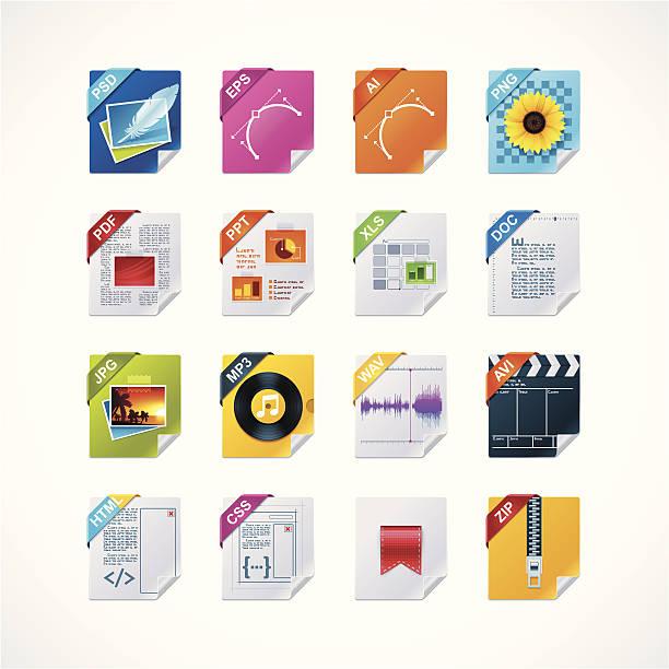 File labels icon setvectorkunst illustratie