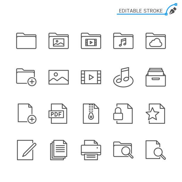 ilustrações, clipart, desenhos animados e ícones de ícones da linha de gerenciamento de arquivos. acidente vascular cerebral editável. pixel perfeito. - imagem