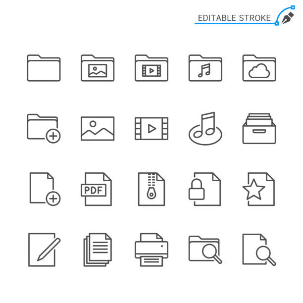 File management line icons. Editable stroke. Pixel perfect. File management line icons. Editable stroke. Pixel perfect. martin luther king jr photos stock illustrations