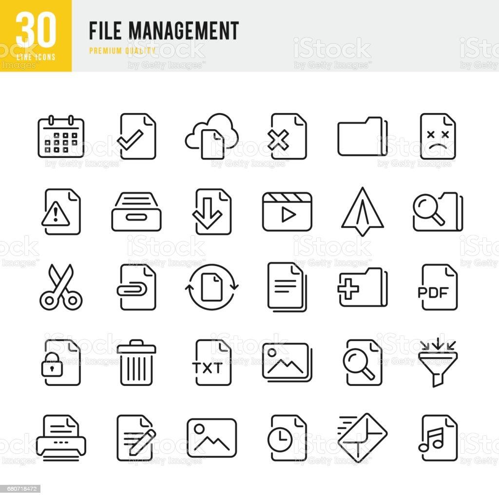 File Management - set of thin line vector icons vector art illustration