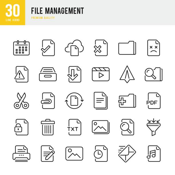 file management - set of thin line vector icons - supervisor stock illustrations, clip art, cartoons, & icons