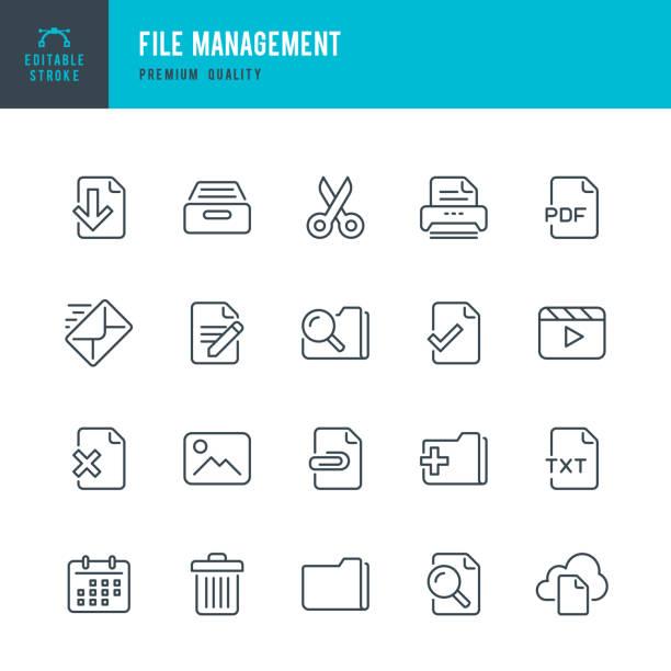 Datei-Management - dünne Linie Vektor-Icons set – Vektorgrafik