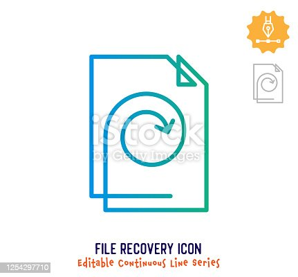 istock File Recovery Continuous Line Editable Stroke Line 1254297710