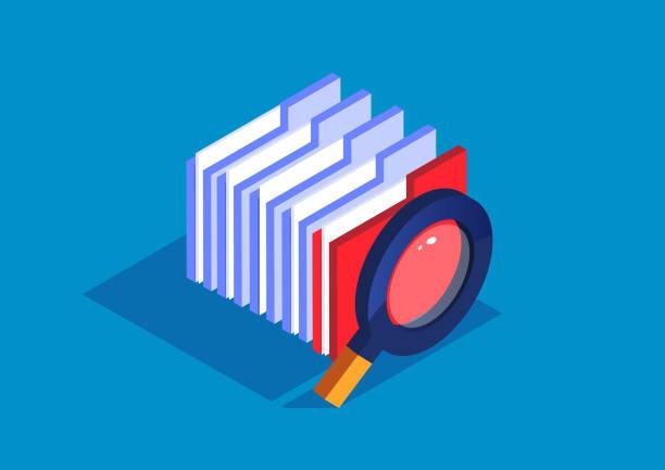 ファイル検索、フォルダの束と虫眼鏡 - アイソメトリック点のイラスト素材/クリップアート素材/マンガ素材/アイコン素材
