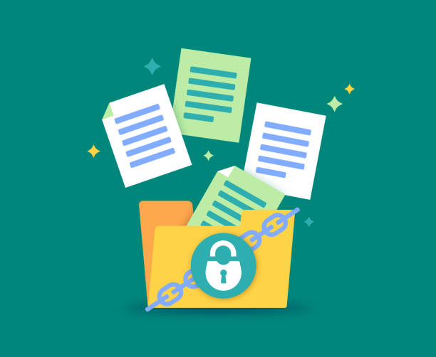 File Security File folder security document and data safety. privacy stock illustrations