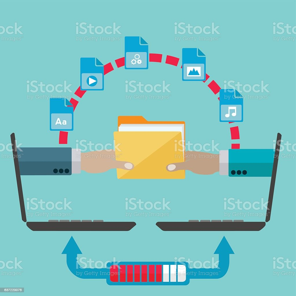 File sharing and transfer vector concept vector art illustration