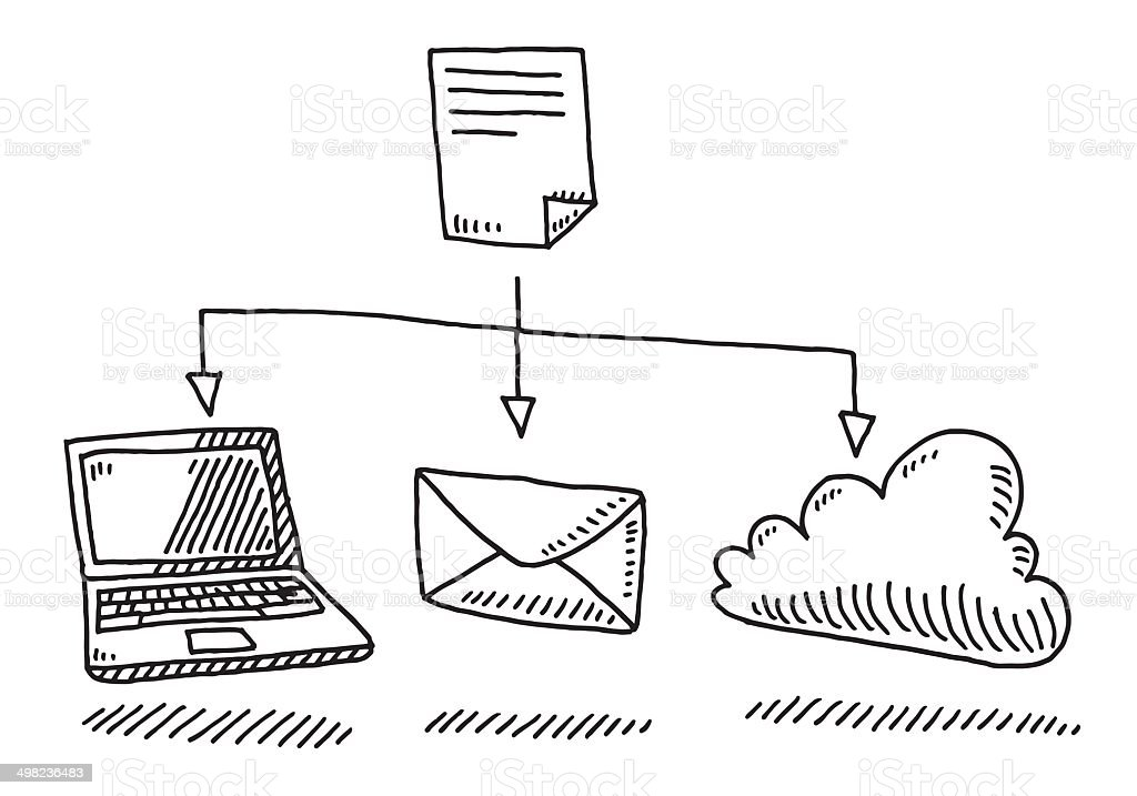 File Sharing Laptop Mail Cloud Drawing vector art illustration