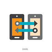 istock File sharing vector icon in flat style isolated on white background 1253066193