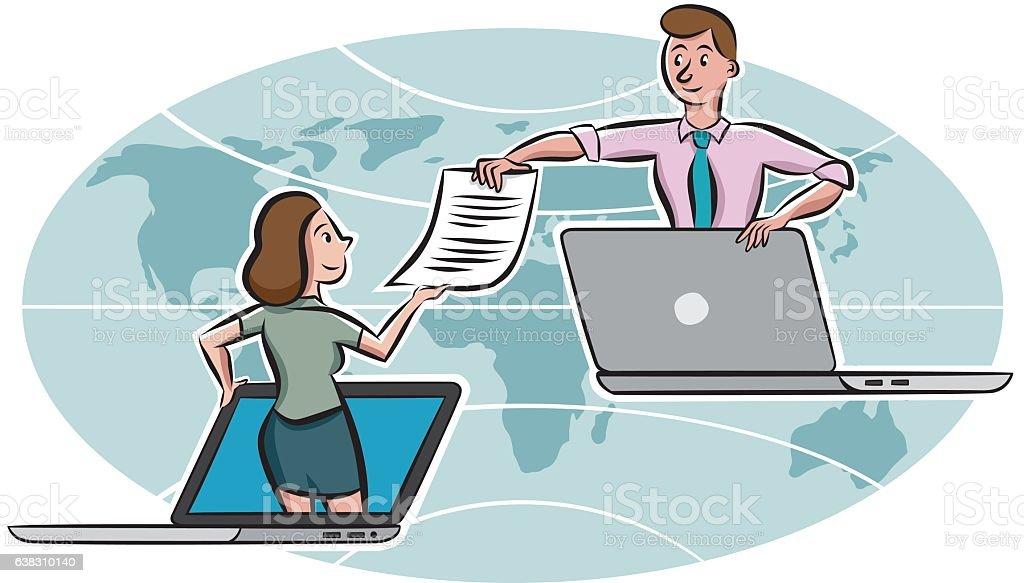 File sharing vector art illustration