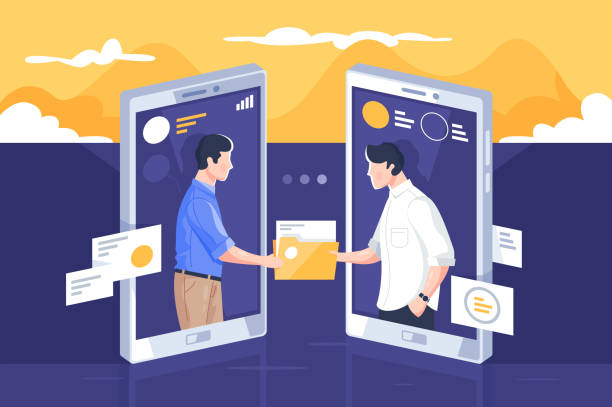 File sharing via internet File sharing via internet vector illustration. People standing into mobile phone screens and giving paper folders through modern app flat style concept. Modern technology concept transfer image stock illustrations