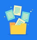Document organization database file storage.