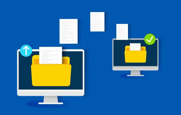 file transfer concept, vector illustration file transfer concept, vector illustration, file transfer concept, vector illustration transfer image stock illustrations