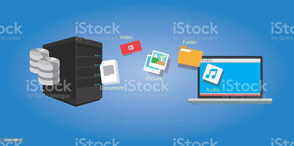 file transfer copy document and media vector art illustration