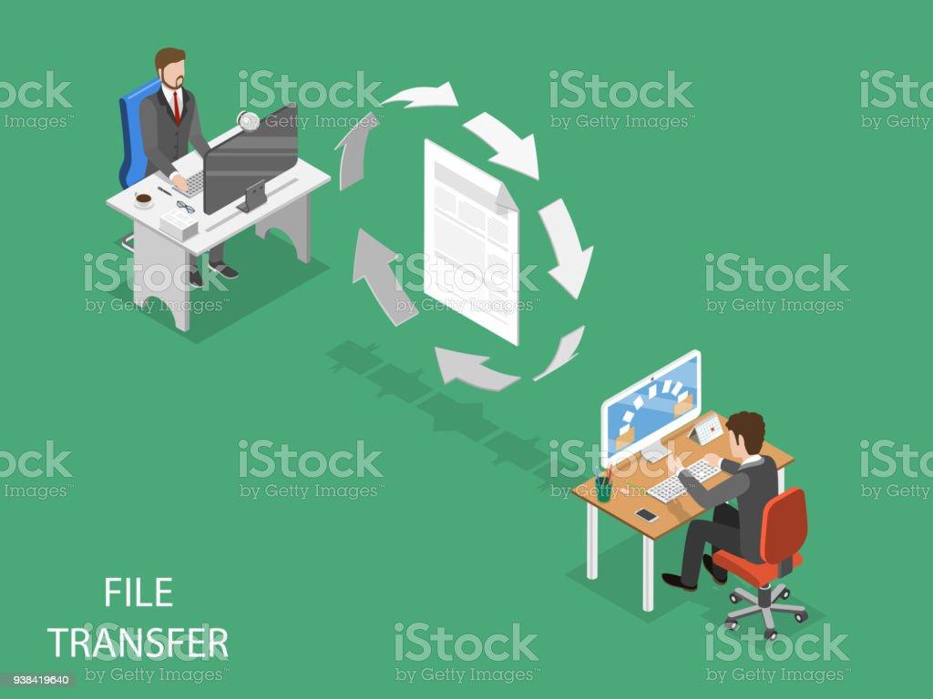File transfer flat isometric vector concept. vector art illustration