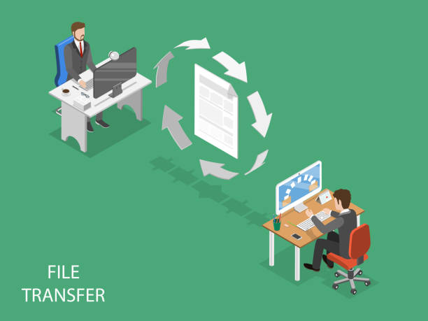 File transfer flat isometric vector concept. File transfer flat isometric vector concept. Circular arrows are moving indicating data exchange between two office employees. transfer image stock illustrations