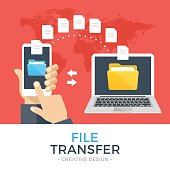 File transfer. Hand holding smartphone with folder on screen and documents transferred to laptop. Copy files, backup, file sharing concepts. Modern flat design vector illustration