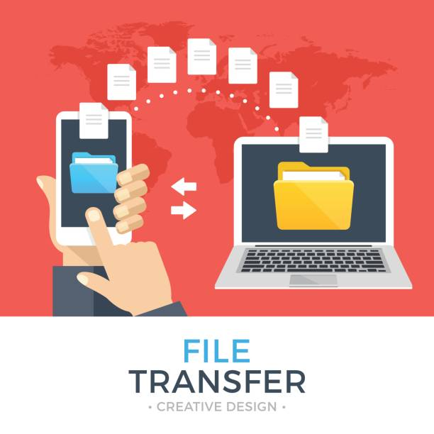 File transfer. Hand holding smartphone with folder on screen and documents transferred to laptop. Copy files, backup, file sharing concepts. Modern flat design vector illustration File transfer. Hand holding smartphone with folder on screen and documents transferred to laptop. Copy files, backup, file sharing concepts. Modern flat design graphic elements. Vector illustration transfer image stock illustrations