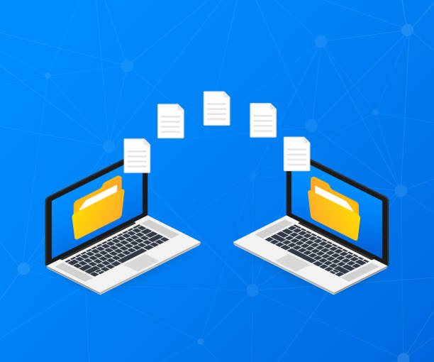 File transfer. laptops with folders on screen and transferred documents. Copy files, data exchange, backup. Vector illustration. File transfer. laptops with folders on screen and transferred documents. Copy files, data exchange, backup. Vector stock illustration. transfer image stock illustrations