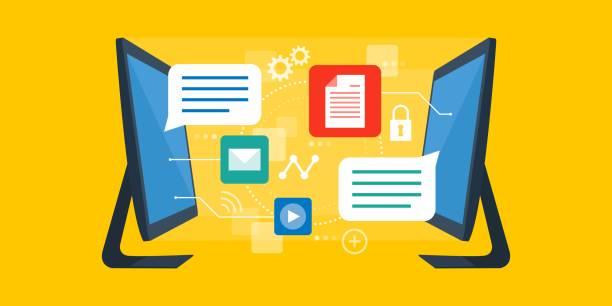 File transfer, social media and data sharing vector art illustration