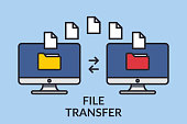 File transfer. Two computers with folders on the screen and documents sent. Copy files, exchange data, backup, transfer PC, concept file sharing. Line graphic design elements. Vector illustration.