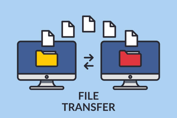 File transfer. Two computers with folders on the screen and documents sent. Copy files, exchange data, backup, transfer PC, concept file sharing. Line graphic design elements. Vector illustration File transfer. Two computers with folders on the screen and documents sent. Copy files, exchange data, backup, transfer PC, concept file sharing. Line graphic design elements. Vector illustration. transfer image stock illustrations