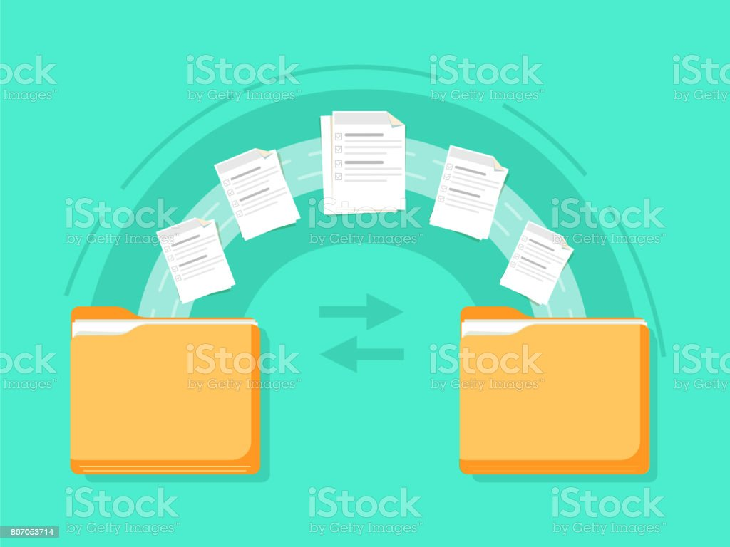 File transfer. Two folders transferred documents. Copy files, data exchange, backup, PC migration vector art illustration