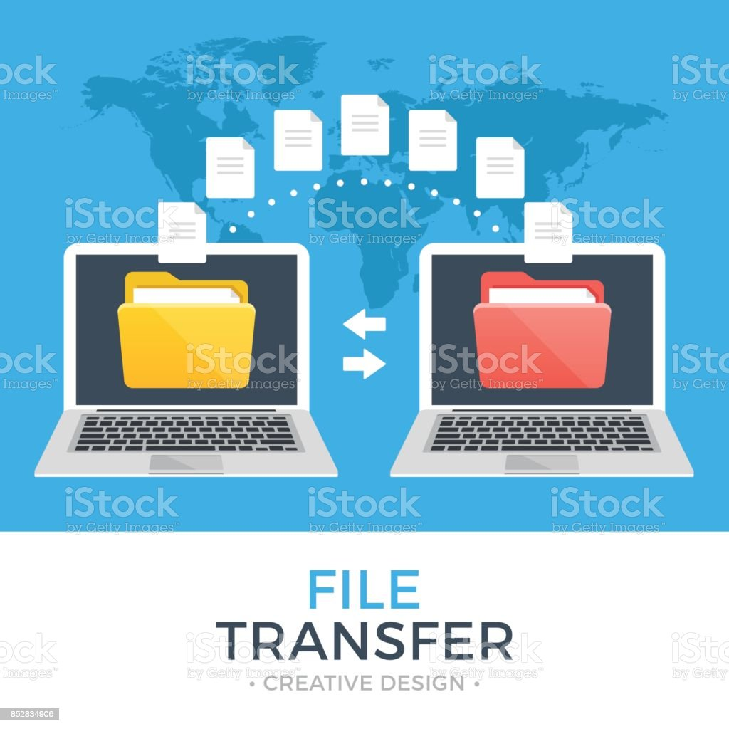 File transfer. Two laptops with folders on screen and transferred documents. Copy files, data exchange, backup, PC migration, file sharing concepts. Flat design vector illustration - Royalty-free Arrow Symbol stock vector