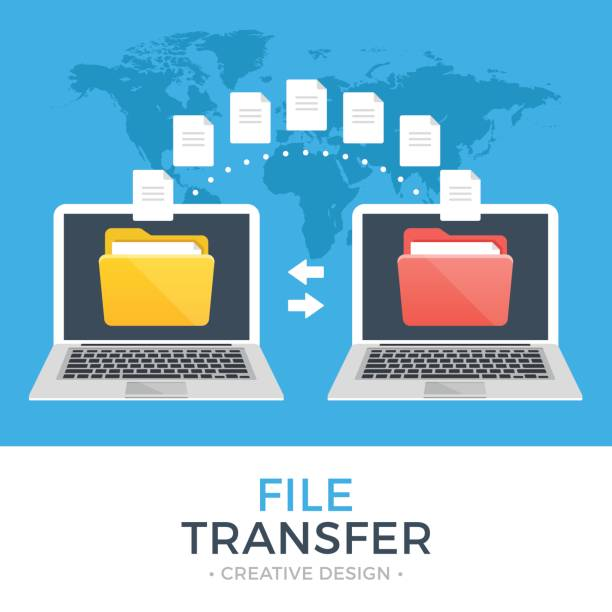 File transfer. Two laptops with folders on screen and transferred documents. Copy files, data exchange, backup, PC migration, file sharing concepts. Flat design vector illustration File transfer. Two laptops with folders on screen and transferred documents. Copy files, data exchange, backup, PC migration, file sharing concepts. Flat design graphic elements. Vector illustration transfer image stock illustrations