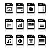 File type black icons with shadow set