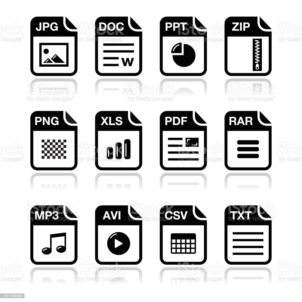 File type black icons with shadow set vector art illustration