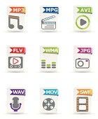 File type icon set: Multimedia