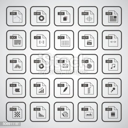 File type icon set  on gray background