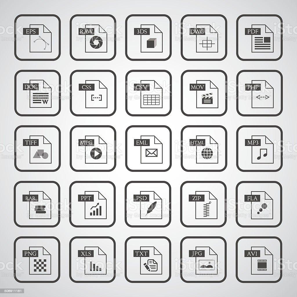 Icône de type de fichier ensemble - Illustration vectorielle