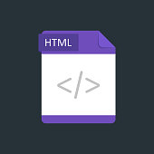HTML file type icon. Vector illustration isolated on a dark blue background