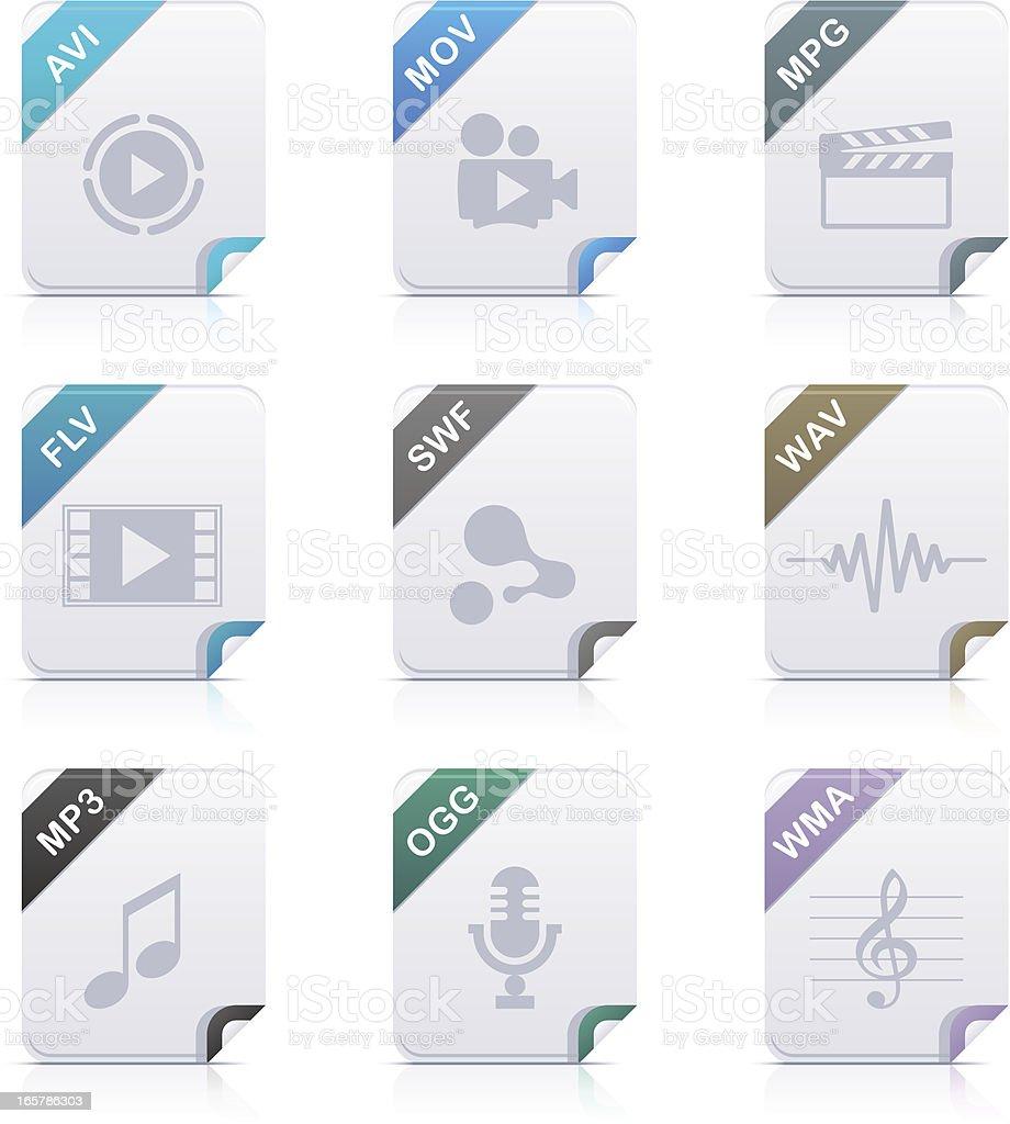 File type icons: Audio & Video vector art illustration