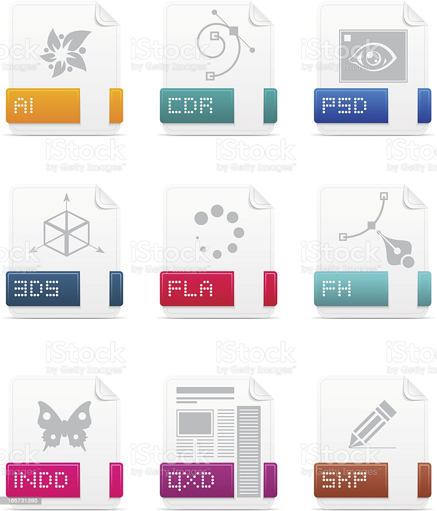 File type icons: Designer pack royalty-free stock vector art