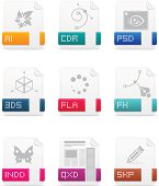 Set of 9 file type vector icons.