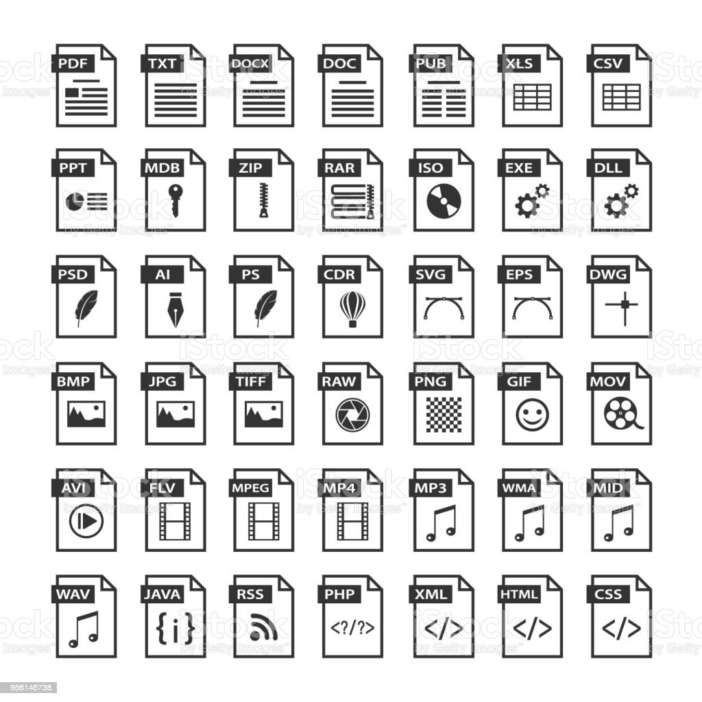 File type icons. Files format icon set in black and white, software symbols buttons vector art illustration