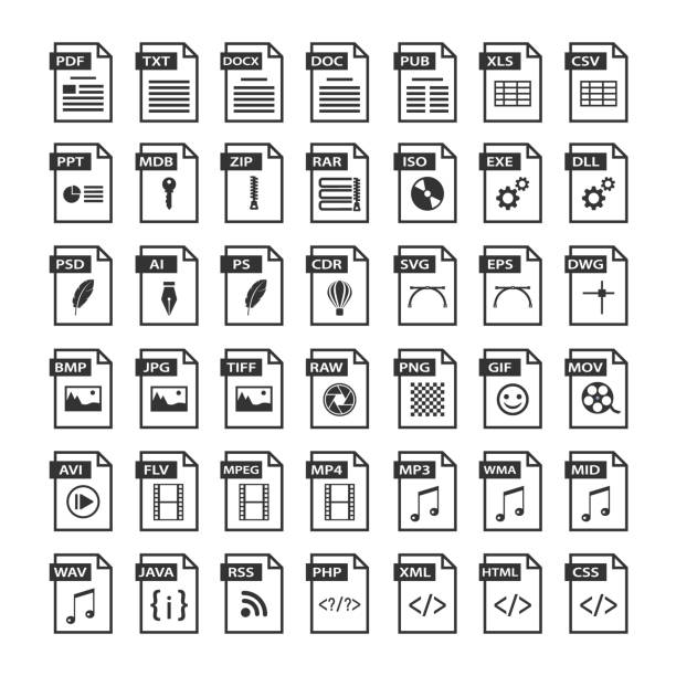 File type icons. Files format icon set in black and white, software symbols buttons File type icons. Files format icon set in black and white, software symbols buttons svg stock illustrations