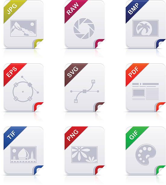File type icons: Graphics Set of 9 file type vector icons. svg stock illustrations