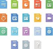 A set of colorful File Type Icons. EPS 10.