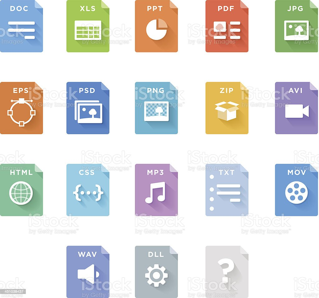 File Type Icons vector art illustration