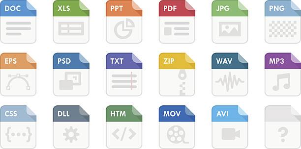 stockillustraties, clipart, cartoons en iconen met file type icons - dossier