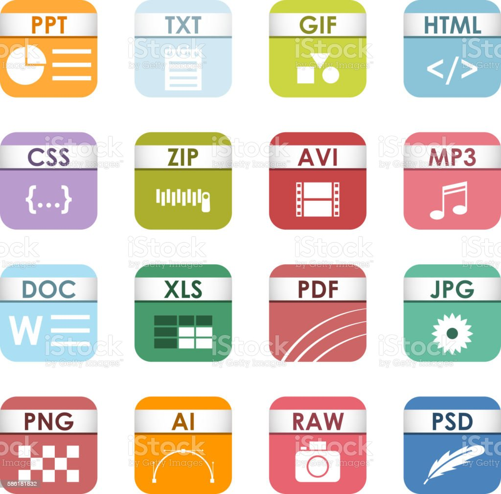 File type icons vector set.vectorkunst illustratie