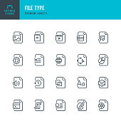 Set of File Type thin line vector icons.