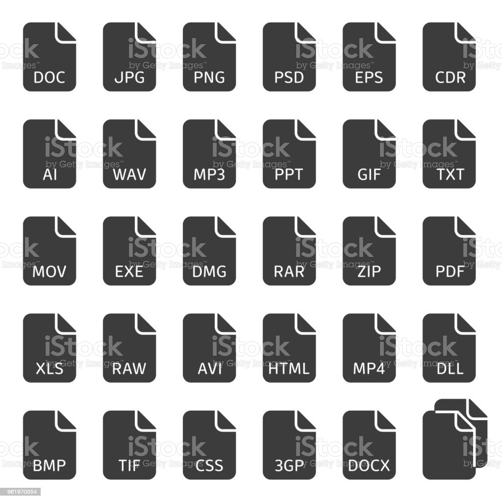 File type vector icons. vector art illustration