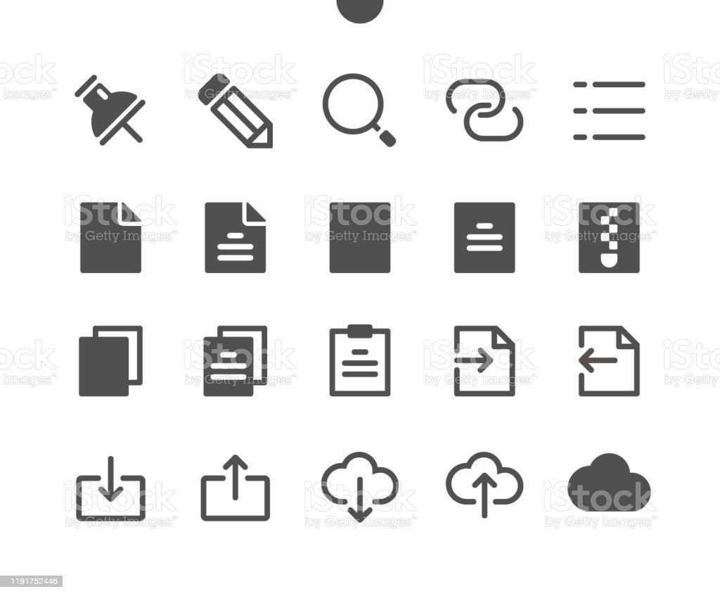 15 Archivo v2 UI Pixel Perfect Well-crafted Vector Solid Icons 48x48 Listo para 24x24 Grid para Gráficos Web y Aplicaciones. Pictograma mínimo simple - arte vectorial de Almacén libre de derechos