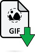 GIF file with green arrow download button on white background vector