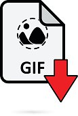 GIF file with red arrow download button on white background vector