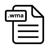 file .wma Thin Line vector Icon